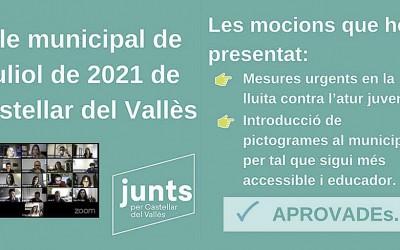 Mocions presentades i aprovades al Ple de juliol 2021